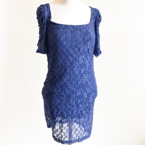 FREE PEOPLE Boho Sexy Lace Ruched Blue Dress - XS